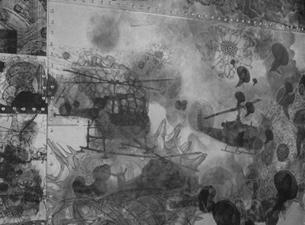 2004 Weißblech, Nieten, Folien, Keramikfarbe, Holz 62 x 88 x 11,5 cm