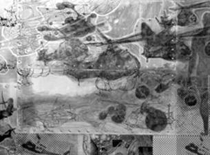 2003 Weißblech, Nieten, Folien, Keramikfarbe, Holz 54 x 149 x 7,5 cm